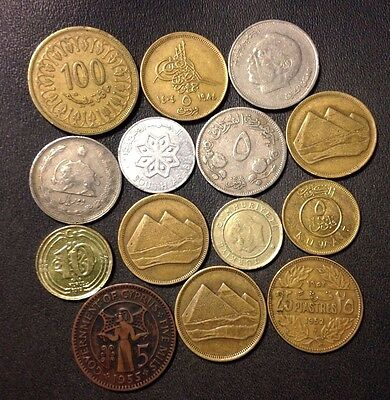 Vintage Middle East Coin Lot - 14 Uncommon Islamic Coins - Lot #J11