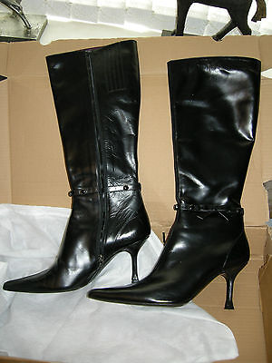 Escada Black Leather Boots 39 F Size 5 Uk Leather Lined Top Quality New