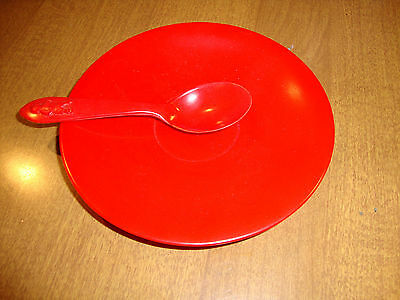 Hemcoware Childs Saucer and Spoon Red