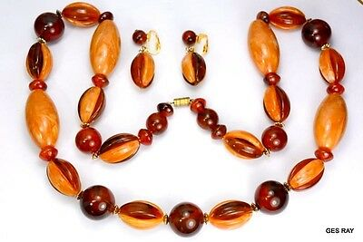 Marbled RootBeer Tortoise Butterscotch Early Plastic Necklace Earring Clip