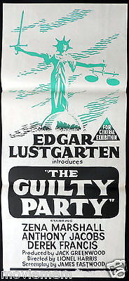 THE GUILTY PARTY Daybill Movie poster Edgar Lustgarten SCALES OF JUSTICE TV