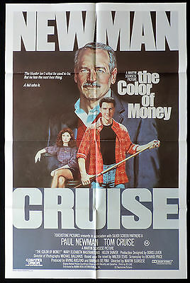 THE COLOR OF MONEY Rare ONE SHEET Movie poster Paul Newman Tom Cruise Hustle