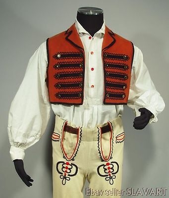 SLOVAK FOLK COSTUME man's ethnic dance vest pants shirt Zemplin traditional kroj