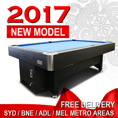 Coin Operated Black/blue 8Ft Timber Mdf Pool Snooker Table Free Accessories