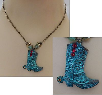 Gold & Green Cowboy Boot Pendant Necklace Handmade Adjustable NEW Accessories