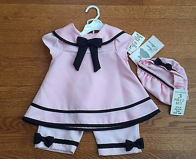 NWT Baby Toddler Girls Rare Editions 3 Pc Sailor Outfit Pink Navy Sz 24 Months
