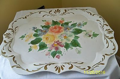 Large  White Vintage Tole Tray Toleware - Roses Painted Floral Shabby Chic