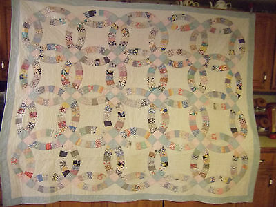 Vintage/antique Double Wedding Ring Quilt - Full Size - #52