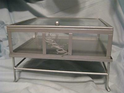 Silver & Glass Hinged Table Top Display Case & Stand