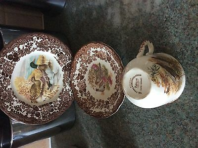 Royal Worcester Palissy Game Series Tea Cups & Saucers  mint condition