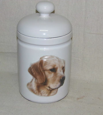 Xpres Hunting Bird Dog Puppy Pet Golden Retriever Canister Cookie Jar Biscuit