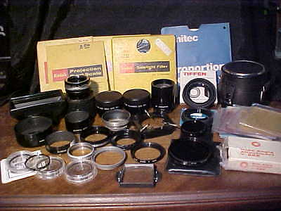 Large Vintage Lot of Misc. Lenses, Filters, etc. *See Pics*
