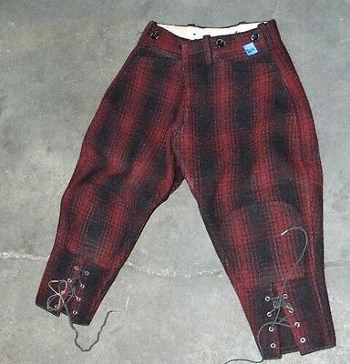 Vintage Childs Red Wool Plaid Snow Pants , Hunting Knickers Button Fly