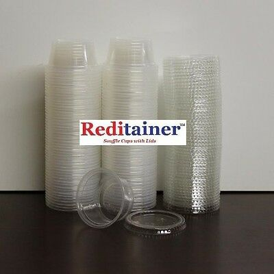 Reditainer Plastic Disposable Portion Cups Souffle Cup with Lids, 2-Ounce,