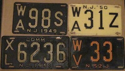 1949 1950 1951 1952 New Jersey License Plate Collection Commercial Passenger Car