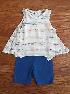 Splendid Toddler Girls 2 Pc Layered Tank Top Shorts Outfit Sz 24 Months