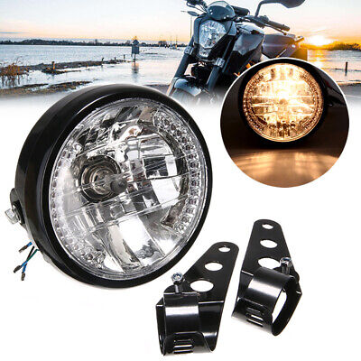 "New Universal 7"" Motorcycle Headlight LED Turn Signal Light+Mount Bracket Black"