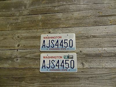 Washington License Plates Evergreen State Original Pair. WA License Plates.