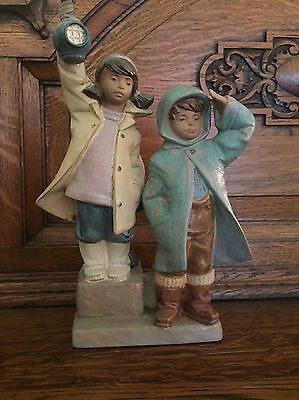 LLADRO #2173 Ahoy There 1987 Two Young Child 'Sailors' In Rain Slickers