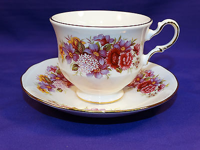 Queen Anne Bone China Coffee / Tea Cup And Saucer Set Multi-Color Floral England
