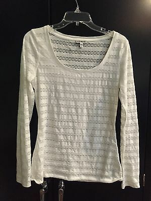 Womens Express White Lace Long Sleeve Top Medium M Shirt Euc