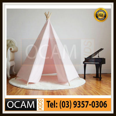 Kids Large Pink Hexagon Shape Cotton Canvas Play Tent Teepee Indoor Outdoor Tipi