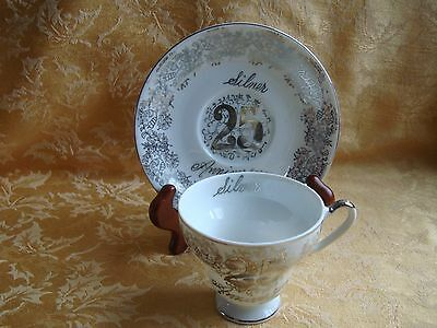 25th Anniversary Tea Cup and Saucer Norcrest Fine China, Made in Japan