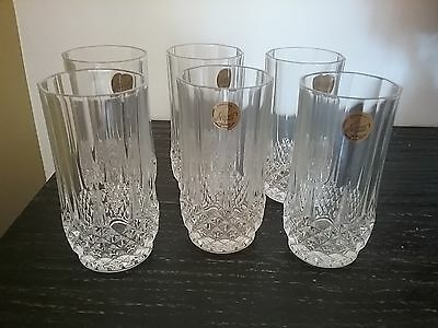 Six Crystal D'arque lead crystal Tumblers, made in France