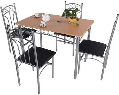 5pcs wood and metal dining set table and 4 chairs home kitchen modern furniture - Metal Dining Room Chairs