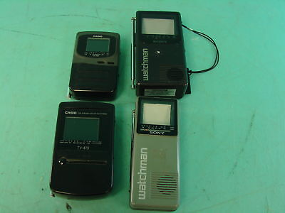 Lot of 4 Vtg Mini TVs Casio Sony Watchman Portable Handheld Televisions LCD