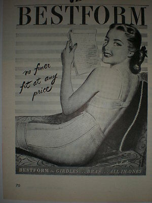 1947 Pretty girl in Bestform Bra and girdle Vtg art print Ad