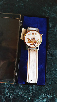 Vintage wrist Golf Log/Stroke Counter Brevete Swiss Made Watch * Gold * White