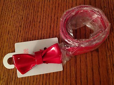NWT Gymboree Girls Size 5-7 Red Patent Leather Belt With Bow New York Girl Line