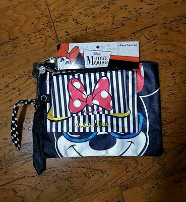 NWT Disney WDW Minnie Mouse Pink 3 Piece Set Travel Make Up Cosmetic Bag Purse