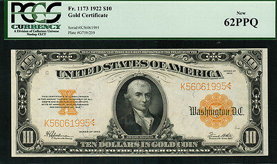 1922 $10 Gold Certificate FR-1173 - Graded PCGS 62PPQ - Uncirculated