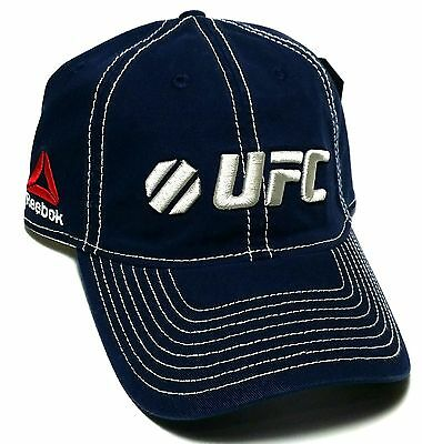 UFC Reebok RBK MMA Blue Piping Relaxed Slouch Dad Strapback Adjustable Hat Cap