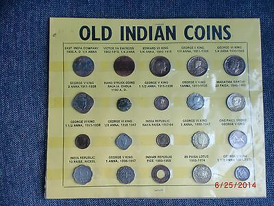 "- India - "" Old Indian Coins "" - 20 Coins  Displayed On Card Board - 1100-1974"