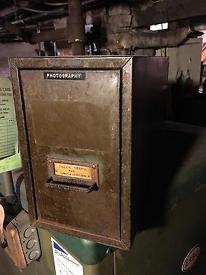 Vintage Asco Metal One Drawer Photo Card Recipe Card File Cabinet Industrial