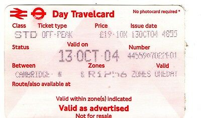 Railway Tickets.  One Day Travel Card From Cambridge