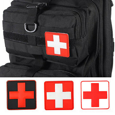 Hot Outdoor Survival First Aid PVC Red Cross Hook Loop Fastener Badge Patch