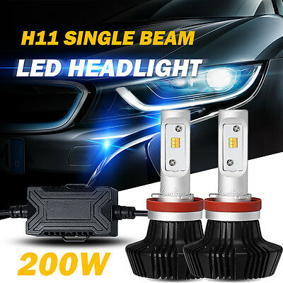 2x200W H11 PHILIPS Single Beam LED Headlights Bulbs For Chevrolet Toyota GMC