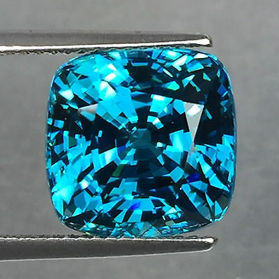 14.11 Cts Blue Zircon Square Beautiful Color Cambodian Mine Top Aaa Gemstone