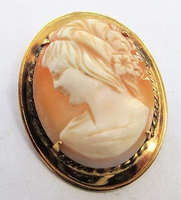 Vintage Deco 9ct gold  mounted carved shell  brooch