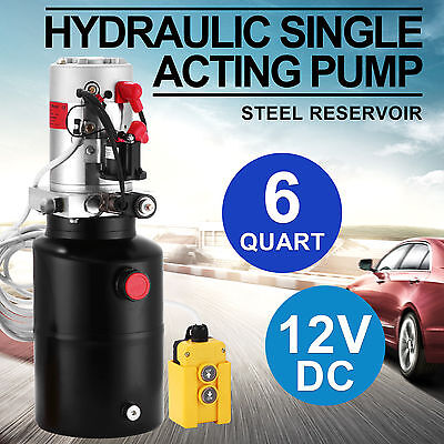 12V DC Hydraulic Single Acting Pump Steel Reservoir 3200 PSI Lift Gates Electric