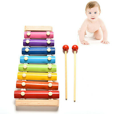 Cute 8 Tone Xylophone Musical Toys Wisdom Development Wooden Toy for Baby Kid GT