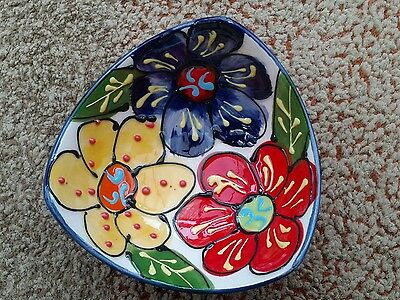 Del Rio handpainted small blue dish vintage
