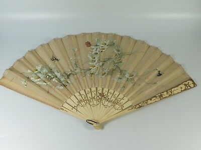 Antique hand painted silk hand fan with flowers and insects pattern