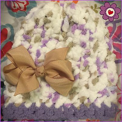 Ribbons & Bows Lavender 0-3 Months Newborn Baby Girl Hand Knit & Crochet Hat NWT