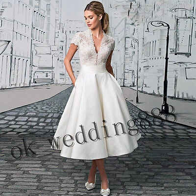 2017 New Ivory/White Tea Length DEB Party Wedding Dress Bridal Gown Custom Size
