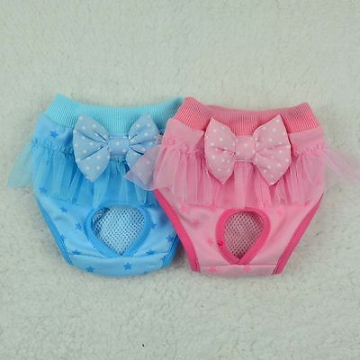 Female Pets Dogs Puppy Underwear Bowknot Diapers Physiological Sanitary Shorts